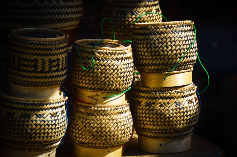 Stack of wicker containers for sale