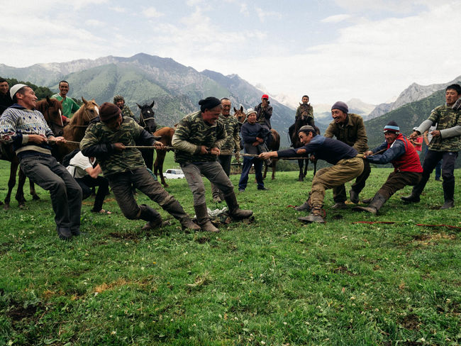 During the local Kyrgyz Games, two teams of men battle it out in a good old fashioned tug-o-war. There is a lot of laughter before, during and at the end of the tournament. Demonstrating a tight community bond. Kyrgyzstan Olympus Photojournalism Adventure Australian Photographers Documentary Em1mk2 Kyrgyz Ata Travel Destinations Week On Eyeem A New Perspective On Life
