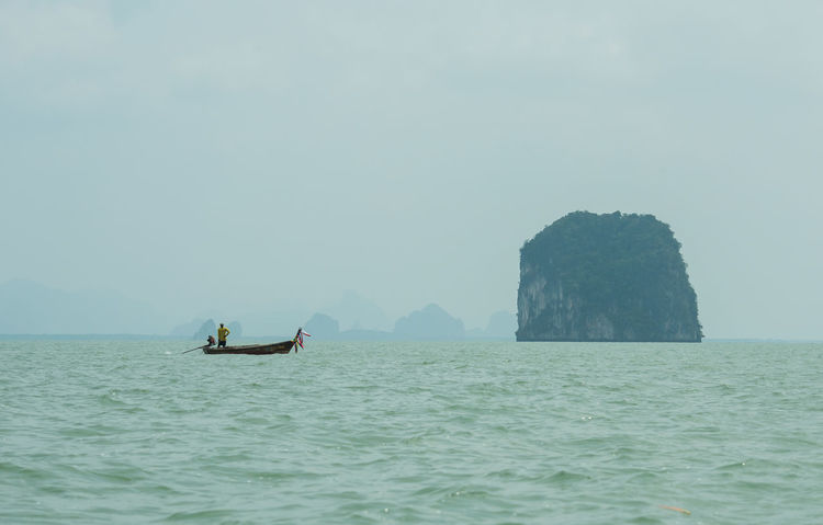 Fisherman, Phang-Nga, Thailand Day Nature Nautical Vessel No People Outdoors Rock - Object Sea Sky Tranquility Water