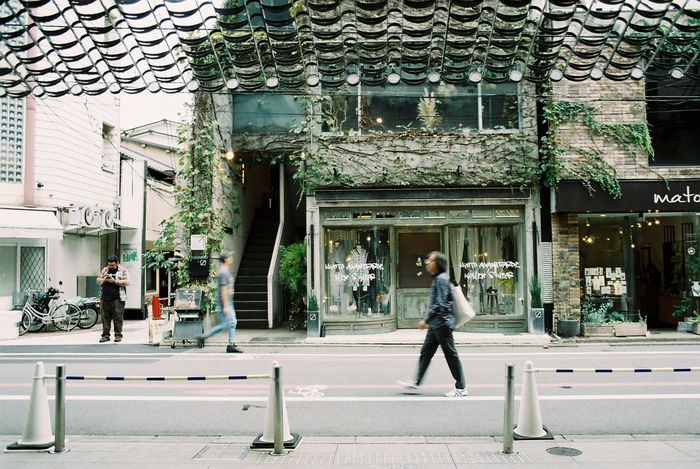 Friend cross the street Filmphotography Streetphotography Kyoto Japan Filmcamera Analogphoto Canon Walking Real People City Life Adult Building Exterior One Person