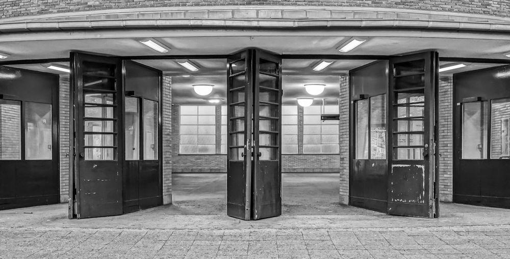 Footpath by open doors