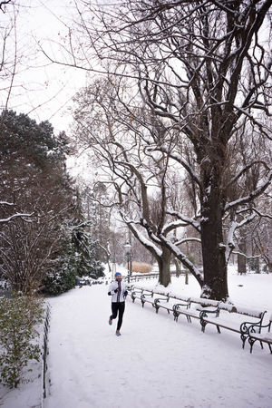 Bare Tree Beauty In Nature Branch Cold Temperature Day Full Length Leisure Activity Lifestyles Nature One Person Outdoors People Real People Sky Snow Tree Walking Winter Young Adult