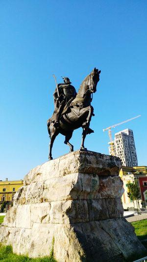 Albania Tirana Scanderbeg Statue