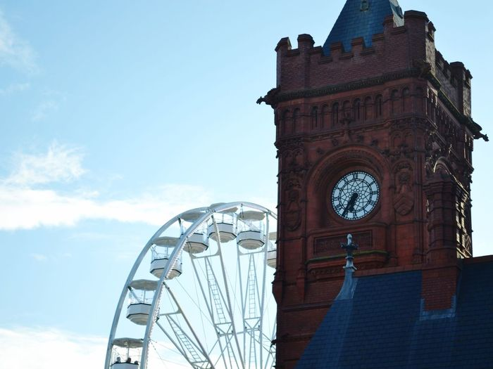 Built Structure Low Angle View Building Exterior Architecture Day Sky Outdoors Cloud - Sky Clock Clock Tower No People Blue Ferris Wheel Time Clock Face Summer Wales