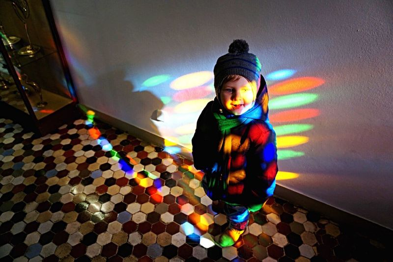 Multi Colored Illuminated Kids Shadow Shadows & Lights Hapiness Feliz Alegria♥♥♥ Contentment Portugal Bright Colors