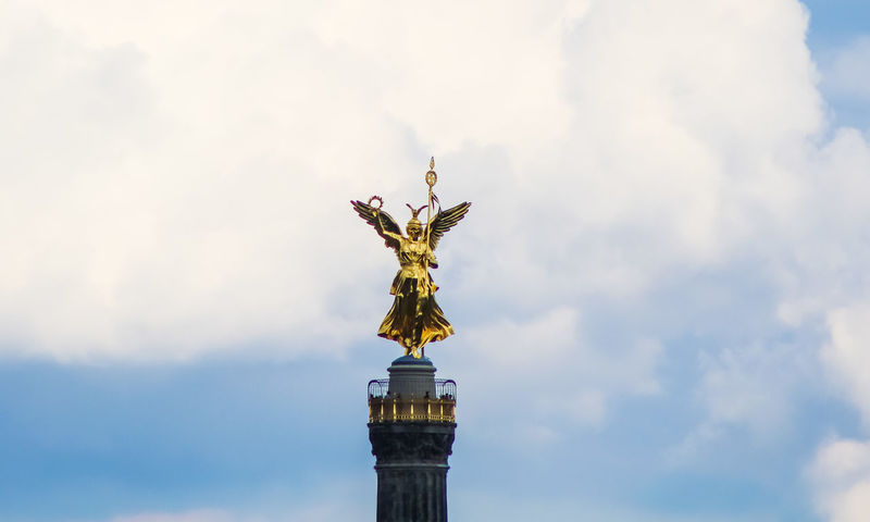 The statue of Victoria Berlin Berlin Photography Sky And Clouds Victoria Architecture Cloud - Sky Day Gold Colored History Memorial Monument Sculpture Sky Statue Travel Destinations Victory Victorycolumn Discover Berlin