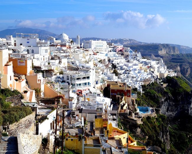 The little town of Thira, Greece on the island of Santorini during a Beautiful day.