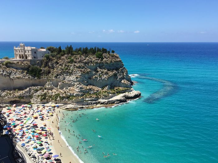 Sea Horizon Over Water Water Scenics Blue Beauty In Nature Nature Clear Sky Tranquility Sky Architecture Idyllic Day Tranquil Scene Outdoors Building Exterior Built Structure Beach Tree No People Tropea Calabria (Italy) Frainf