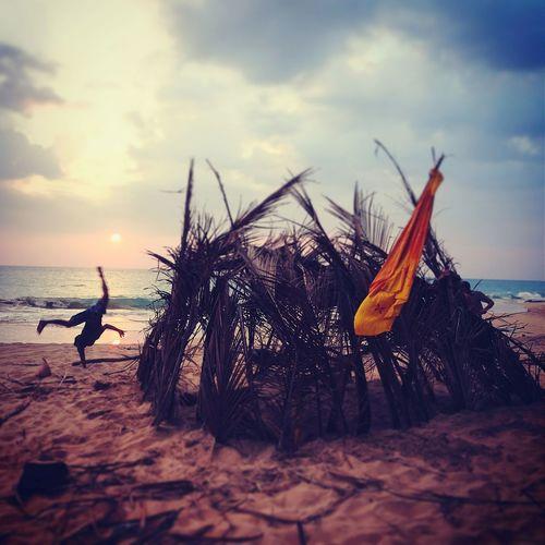 Sri Lanka Bentota Beach West Coast Cartwheel Beach Sunset Ocean Palmleaf Hut Ecohouse