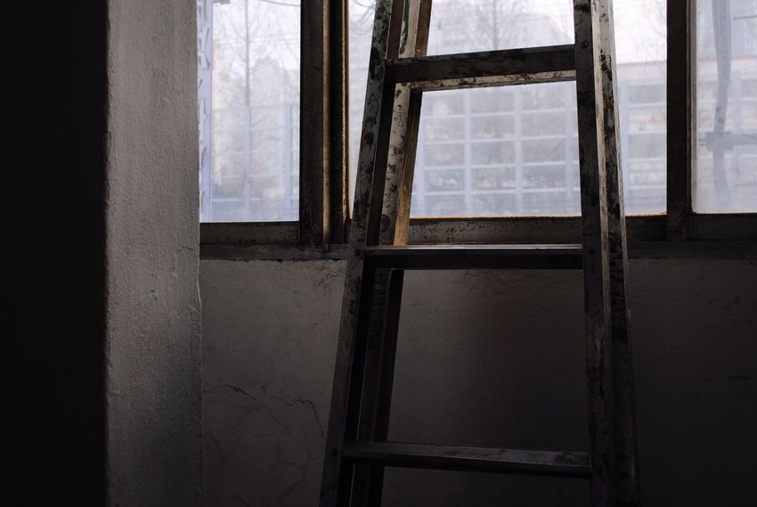 Window Indoors  Home Interior Damaged Abandoned Domestic Room Ladder