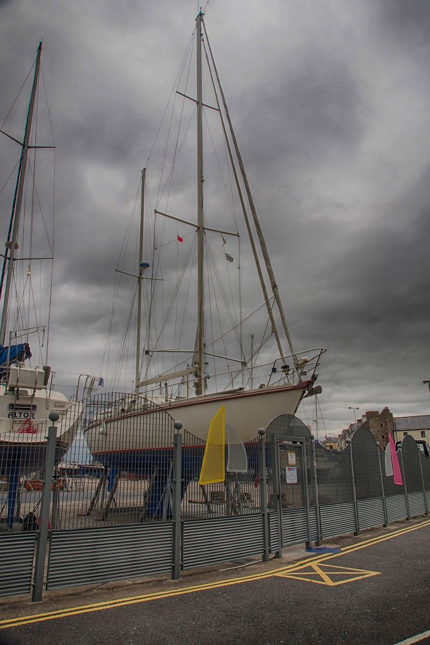 cloud - sky, sky, transportation, built structure, outdoors, day, nautical vessel, architecture, no people, mast