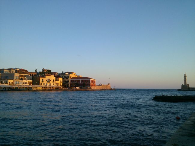 Sunrise in majestical Chania Old Town. Architecture Beauty In Nature Blue Building Exterior Built Structure Chania Chania Crete Chania Old Port Clear Sky Copy Space Day Distant In Front Of Nature No People Old Harbour Outdoors Residential District Scenics Sea Town Tranquil Scene Tranquility Water Waterfront