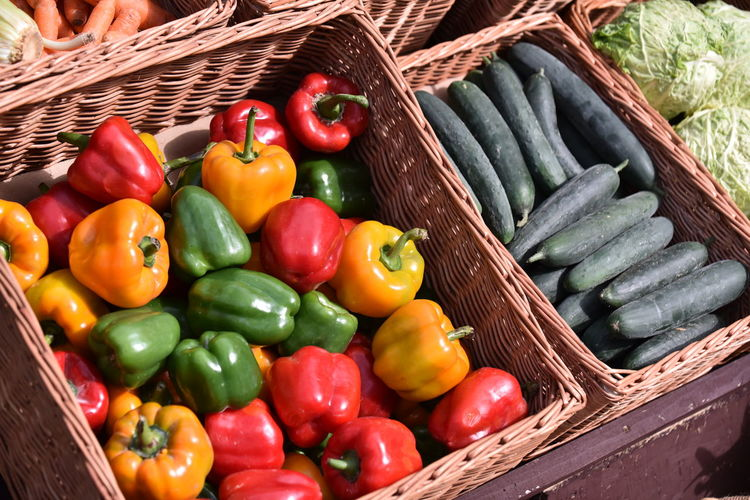 High angle view of bell peppers in basket