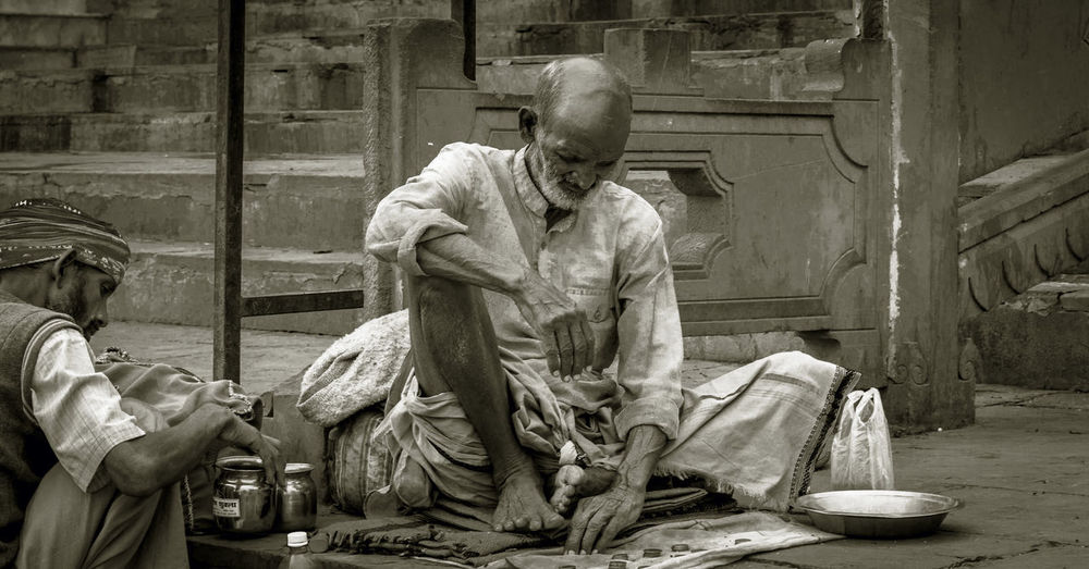 Life After Death Beggars Day Indoors  Old Age One Person People Real People Sculptor Sculpture Sitting Statue Street