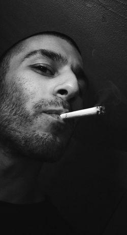 Black And White Self Portrait Smoking