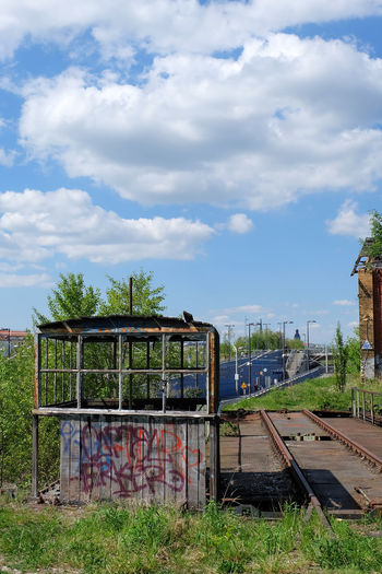 Bahnhof Blue Cloud - Sky Day Diminishing Perspective Grass Green Color Growth Landscape Leipzig Nature No People Outdoors Plant Sky