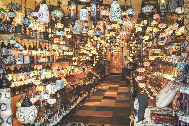 Illuminated market stall for sale in store