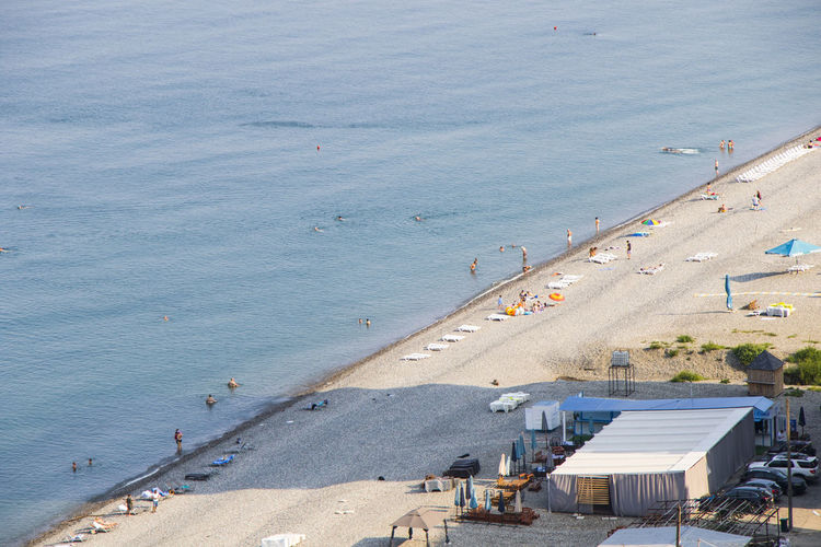 High angle view of beach in city