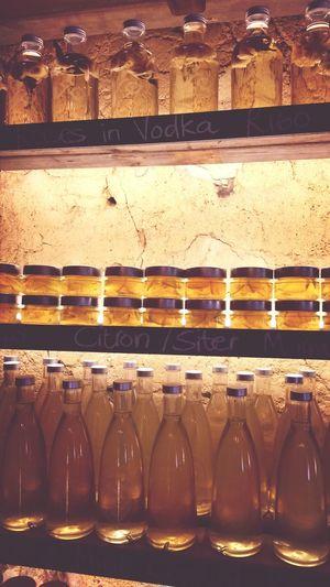 Yellow bottles.