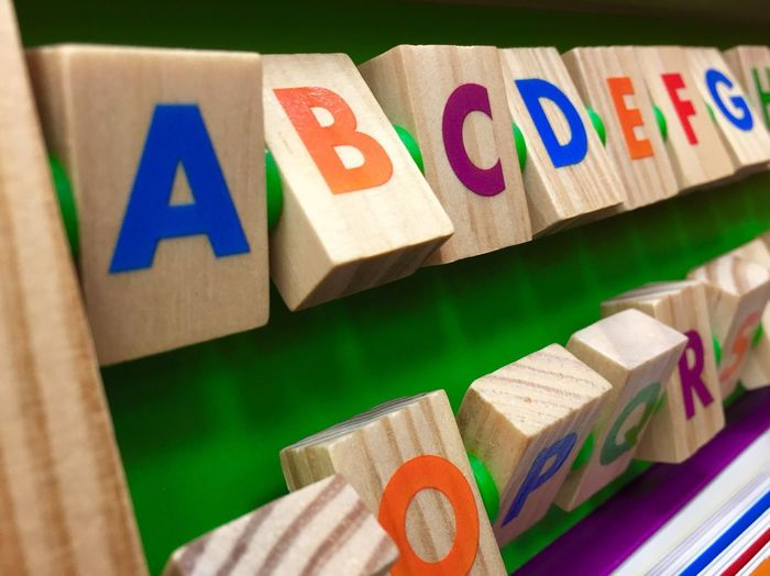 Alphabet from colorful wooden cubes Letters Child Infantil  Alphabet Toy Cubes Learn Infant Colorful Wooden