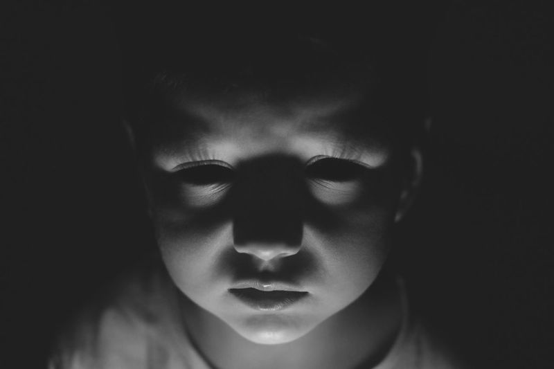 Blackandwhite Boy Child Creepy Human Face Light And Shadow Perspective Serious Halloween