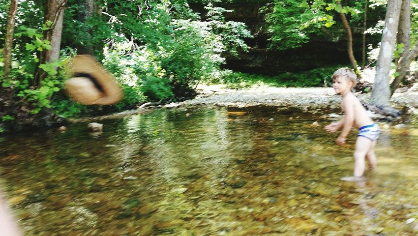 Creek Wading Preschooler Fun💕 👫 Grandkids 💙💛💜 Water Trees Rural Summer Time  Beauty Family 🙏🙌 💯 Country Life Throwing Hat Summer Days 💜🌻🌞 Water Tree Full Length Motion Low Section Fun
