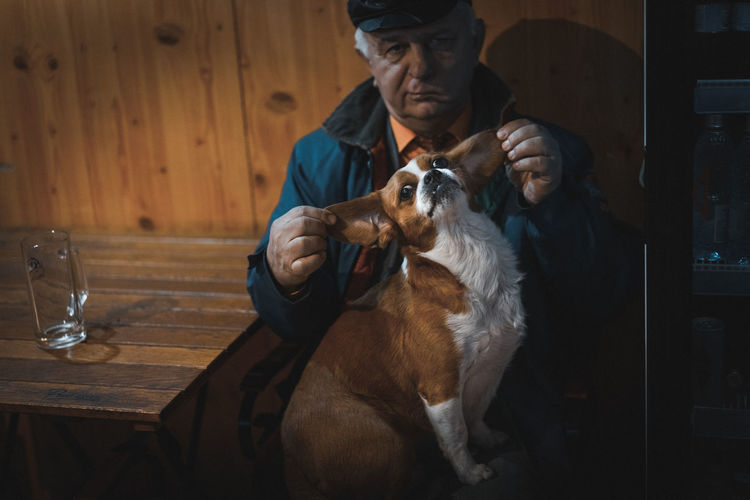 Last evening our car broke. I went to a near old pub to warm my hands and feet. At first he barked me. A lot. Then I took some pics and he calmed. He even came to me for scratching. Dog Senior Adult One Person People Indoors  Second Acts Pub The Portraitist - 2018 EyeEm Awards