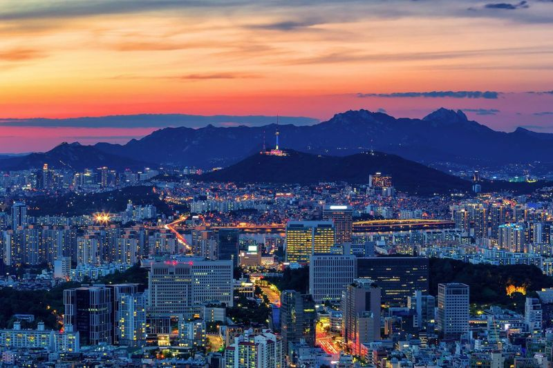 Sunset and Viewpoint of Seoul downtown Seoul tower Hangang Light Traffic Sunset Travel Tourism Bridge Korea Seoul Tower Cloud - Sky Architecture Sky City Sunset Building Exterior Mountain Built Structure Cityscape Building Nature Landscape Cloud - Sky Dusk No People