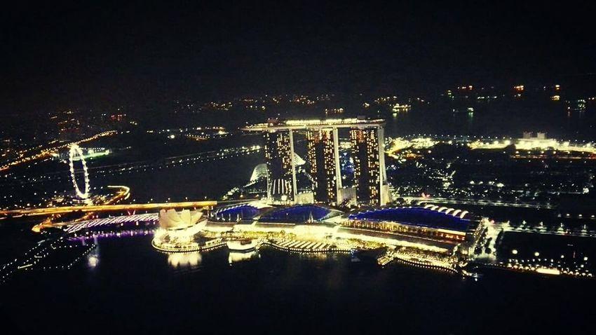 Illuminated Marina Bay Singapore View From Above