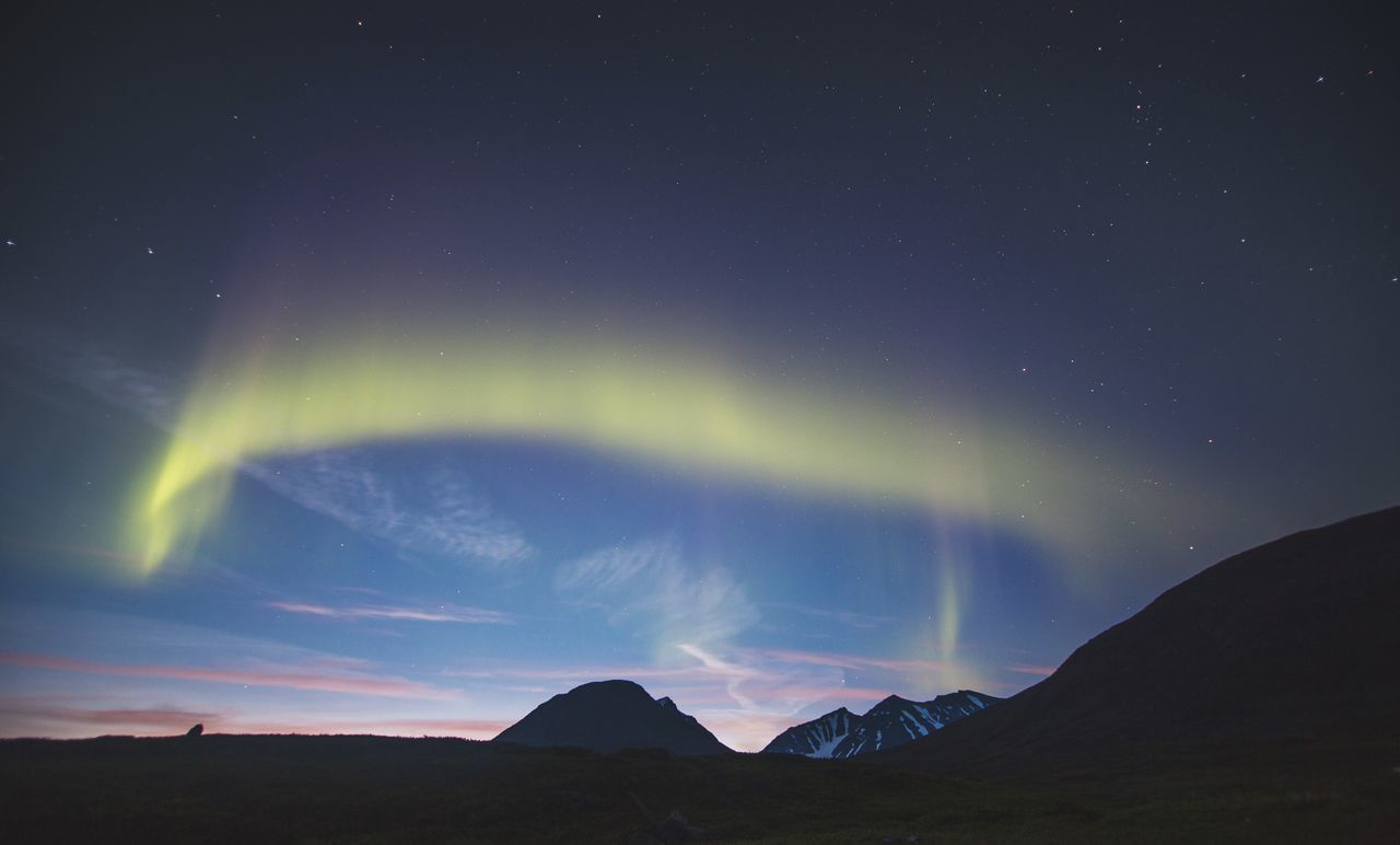 Low angle view of aurora in sky during sunset