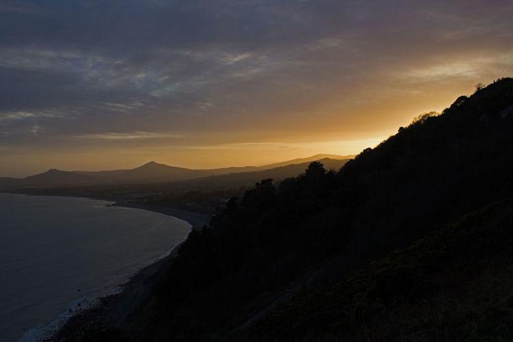 Hills Sky Beauty In Nature Sunset Scenics - Nature Tranquil Scene Tranquility Mountain Cloud - Sky Environment Silhouette Nature Non-urban Scene Water Mountain Range Landscape No People Idyllic Land Dusk Outdoors Killiney Dublin