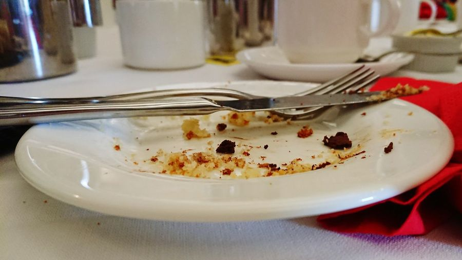 All Gone  Eaten Cake Crumbs Plate Leftovers Close-up Food And Drink Eaten Cutlery Knife Crumb Fork Empty Plate Served
