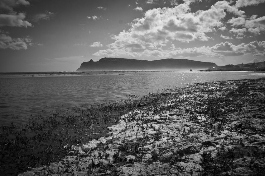 Beach Beauty In Nature Black And White Blackandwhite Cloud Cloud - Sky Clouds And Sky Day Landscape Mountain Nature No People Outdoors Poetto Reflection Sand Sardegna Scenics Sea Seascape Sky Skyline Tranquil Scene Water