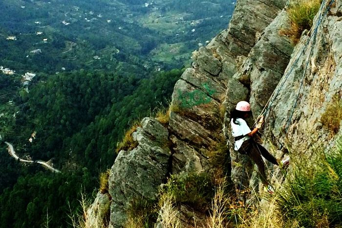 Done That. Tree Mountain Beauty In Nature Day Real People Nature Forest Outdoors One Person Green Color Scenics Adventure Full Length Landscape Helmet Lifestyles Rapelling