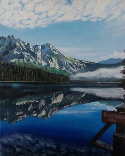 It was painted for a friend, whose photograph I used to paint it. Mountain Reflection Lake Landscape Nature Beauty In Nature Sky Painting Art Artist Madebymyself MadebyMe ☝✌ JMR Acrylic Painting Water Cloud - Sky