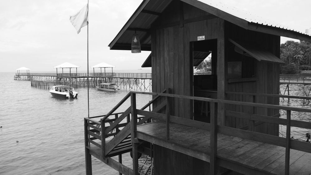 Wood - Material Sky No People Tranquility Building Exterior Water Day Outdoors Pier Photos Docks Pier INDONESIA Batam-Indonesia Batam Island Black And White Black And White Photography