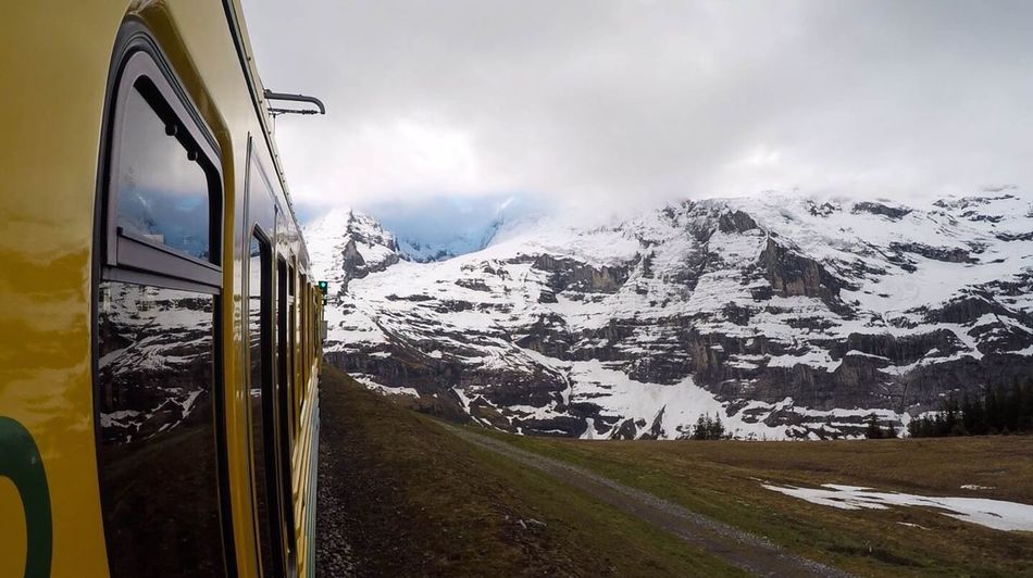 Snow Mountain Cold Temperature Winter Nature Snowcapped Mountain Transportation Mountain Range Beauty In Nature No People Day Scenics Landscape Outdoors Tranquility Sky Adventure Personal Perspective Reflection Train Ride The Great Outdoors - 2017 EyeEm Awards Switzerland