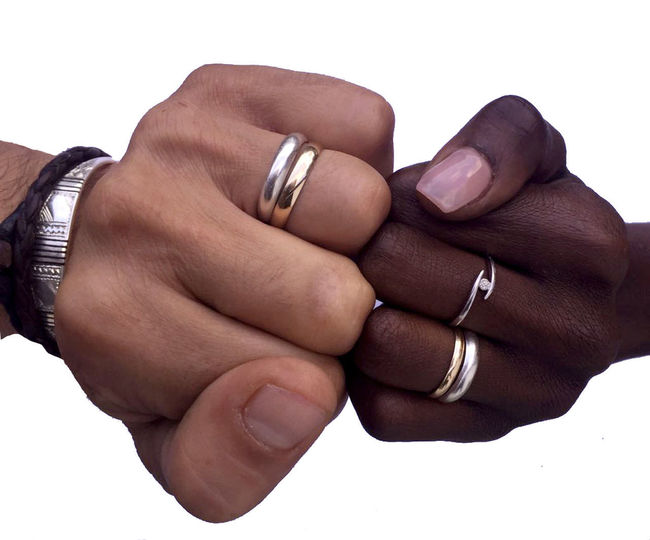 studio ixelles NoRacisme Freedom Desing Multiracial  Union Black And White Alliance Rings Wedding Human Representation Hands Handmade Couple - Relationship Emotion Adult Women Bracelet Love Positive Emotion Indoors  Human Finger Finger Body Part People Close-up Men Ring Jewelry Studio Shot Human Body Part Human Hand Hand White Background Indoors  Two People Personal Accessory Wife Mywife Mywifeismymodel Bugs Oro Silver Colored Gold Colored Silver And Gold Studio Light