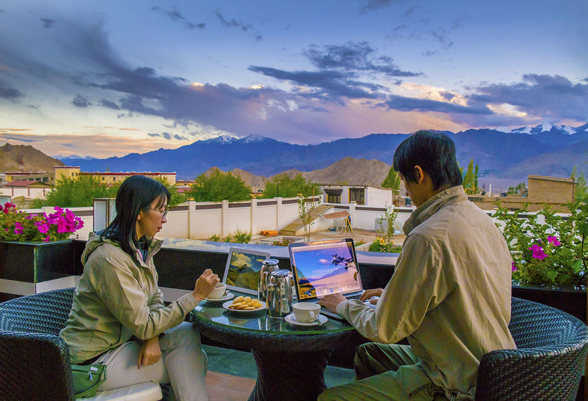 This will be my only behind the scenes photo.. a shot of my wife and I relaxing with a masala tea editing photos after a long day shooting. Taken in Ladakh, Kashmir state India at a height of 3700 metres That's Me Landscape Nature Sunset