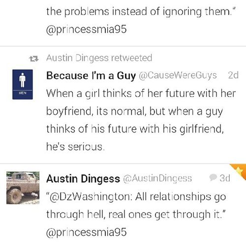 I love when he retweets things like this!♥ It makes me believe everything has a reason us is one of them, and being with him is the best gift ever! Future Love Happiness Foreverandever @austin_dingess