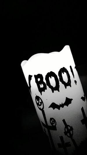 Halloween Candle Boo! Bats Pumpkins Jack O' Lantern