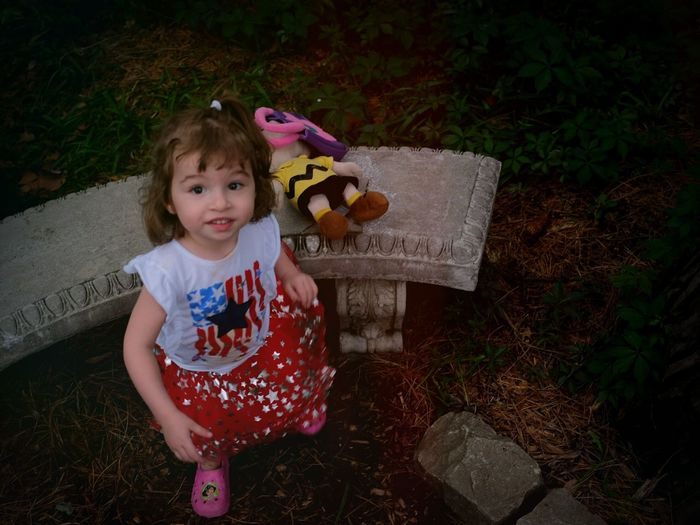"""""""She was an American girl"""" At The Park Children Daughter Garden Path"""