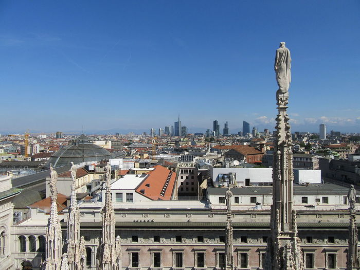View from the roof of the Duomo Di Milano Architecture Building Building Exterior Built Structure Cathedral City City Life Cityscape Duomo Di Milano Façade Famous Place Milan Outdoors Rooftop Top Perspective