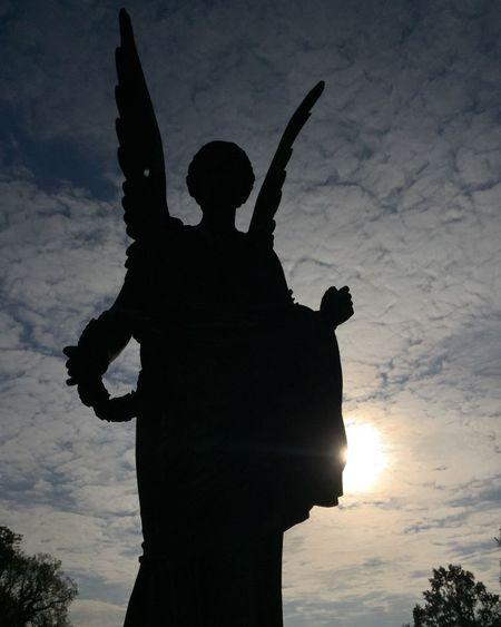Statue Potsdam Silhouette Sanssouci Park Potsdam Spirituality Grief Angel Goddess Wings Death Love Clouds Protection