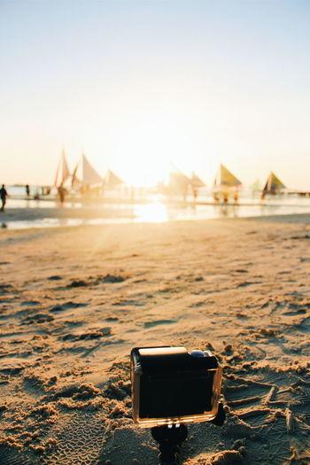 Camera on beach in boracay island
