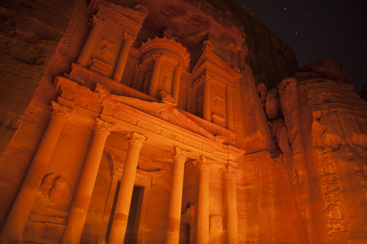 The Treasury In Petra, at night. Jordan. Ancient Archeology Façade Jordan Jordan Middle East Petra Petra, Jordan Travel Ancient Ancient Civilization Architectural Column Architecture Building Exterior Built Structure History Illuminated Low Angle View Night No People Outdoors Travel Destinations Treasury