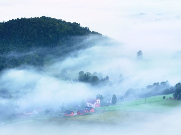 Heavy mist in landscape. magnificent autumn creamy fog in countryside.