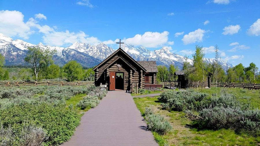 Beauty Chapel Chapel Of The Transfiguration Church Faith Grand Teton National Park  Historic Building Log Structure Mountains And Sky Nature_collection Remote Snowy Peaks Sunday Service Tetons Tiny Chapel
