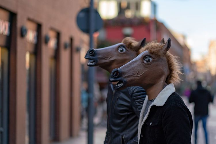 People wearing horse pattern mask in city