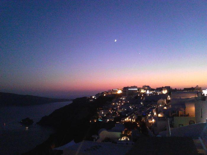 Santorini, Greece magic colours!! Vacations Atmospheric Mood Idyllic Summer ☀ Oiasunset Oia Santorini Oia Village Before Night Fall